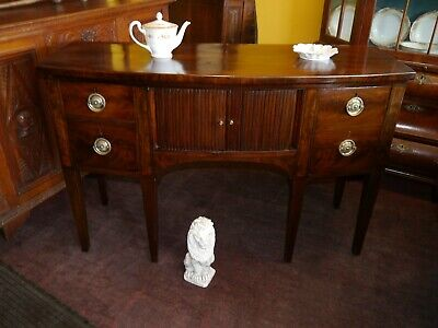 A Beautiful George Iii Mahogany Bow Front Sideboard C.1790 With Tambour Shutter