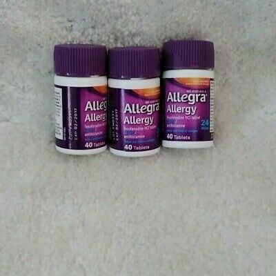 Allegra Allergy Non drowsy 180 mg 24 Hour Lot of 3 bottles 120 Total- exp. 2017