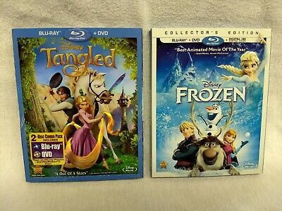 Frozen Collector's Edition & Tangled   Like New Blu Ray