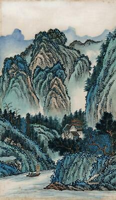 CHINESE MOUNTAIN LANDSCAPE Watercolour Painting - 20TH CENTURY