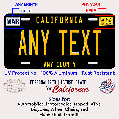 California Black Any Text Custom Personalized License Plate Tag Auto ATV Bicycle