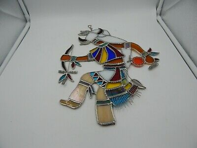 Vintage Stained Glass Native American Warrior 14""