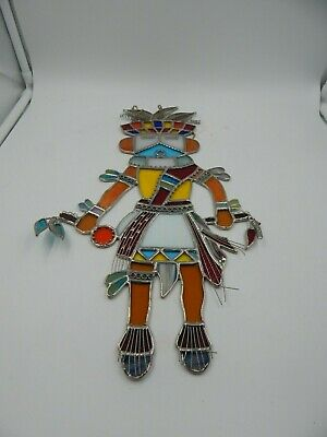 """Vintage Stained Glass Native American Kachina 16"""""""