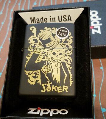 Zippo 29632 Joker Skull Laser Engrave Black Matte NEW in box Windproof Lighter 5