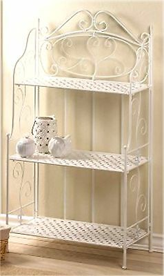 "White Basket Weave & ""Fleur De Lis"" Design Baker's Rack 3 Shelf 49"" Unit ** Nib"