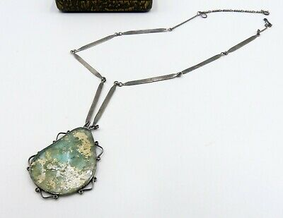 Vintage sterling silver chain with ancient Roman glass pendant necklace