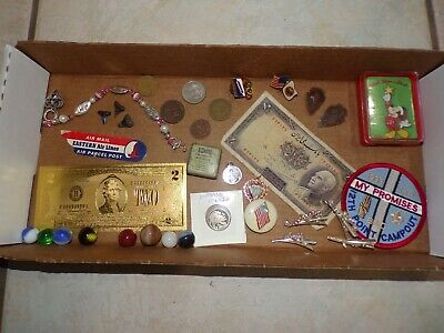 Vintage Junk Drawer Collectible Smalls Token Coin Medal Pin Marble BSA Box Lot 2