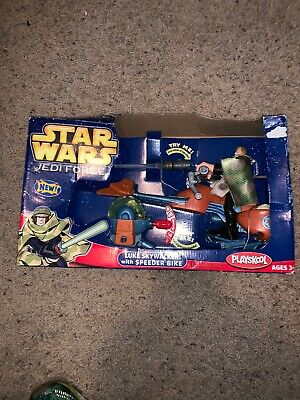 Playskool Star Wars Jedi Force Luke Skyewalker w Speeder Bike Missing Lightsabre