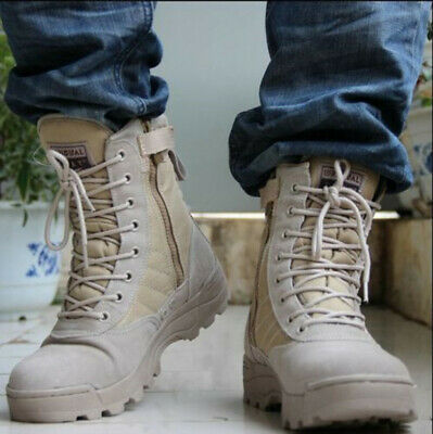 Men Tactical Military Desert Army Boots Warm Combat Hiking Outdoor Shoes Lace Up