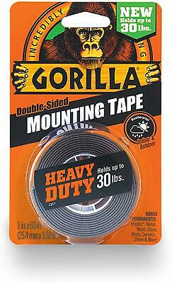 Gorilla Heavy Duty Double Sided Mounting Tape 1 Inch x 60 Inches Black