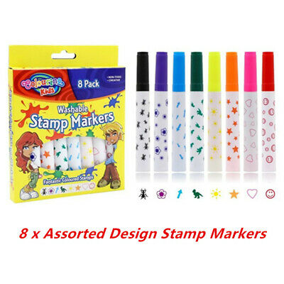 8 x Washable Stamp Markers Assorted Designs Marker Pen Stamper Seal Non Toxic
