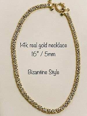 14k yellow gold bizantine necklace/set available/u select the size