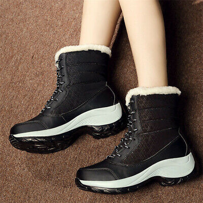 AU Women's Winter Warm Waterproof Platform Snow Shoes Fur Lined Lace Up Boots