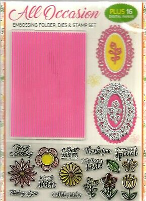 All Occasions Embossing Folder, Dies  & Stamp  Set
