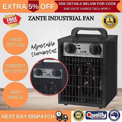2000W Electric Industrial Fan Heater Workshop Floor Carpet Dryer Splash-Proof AU