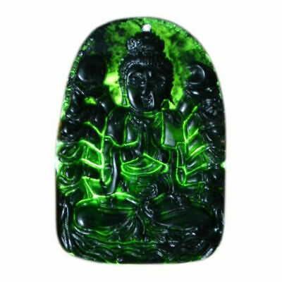 Natural Chinese Black Green Jadeite Jade Pendant Necklace Hand-carved Bodhisattv