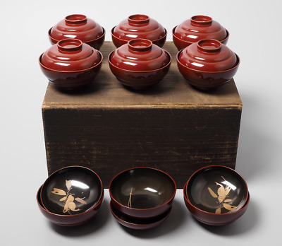 Set of 9 Japanese Lacquered Wooden Makie Snail Bowls