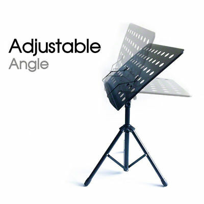 Adjustable Folding Professional Music Stage Sheet Stand Heavy Duty Large Black