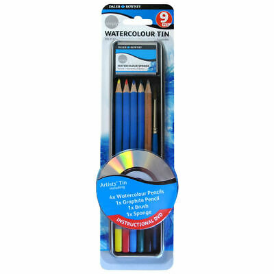 Daler-Rowney Simply Watercolour Pencils 9 Piece Tin Set and accessories