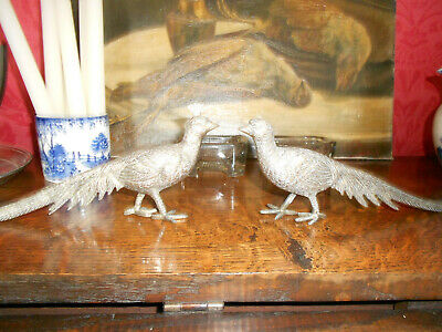 Pair Of Vintage Silver Plated Pheasants / Game Birds  - Stamped Italy
