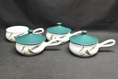 Denby Greenwheat Set of 4 Individual Casserole Dishes with 3 Lids