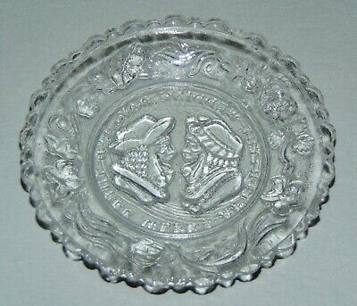 EAPG Glass Cup Plate AFTER THE WEDDING DAY Two Faces