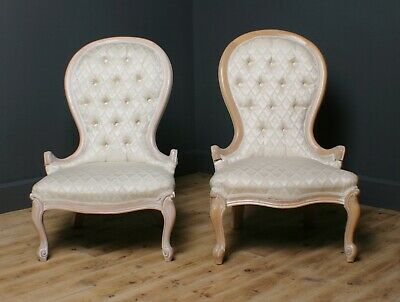 Attractive Pair Of Antique Style Spoon Back Upholstered Parlour Chairs