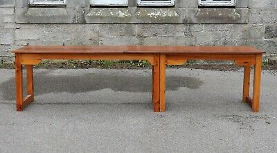 Attractive Large 10ft Vintage Rustic Pine School Work Bench Table Shop Counter