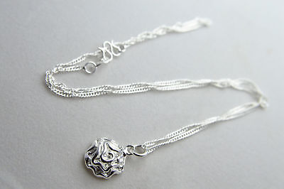 "Shiny 925 Sterling Silver Plt Rose Flower Charm Pendant Necklace 16.5"" Gift UK"