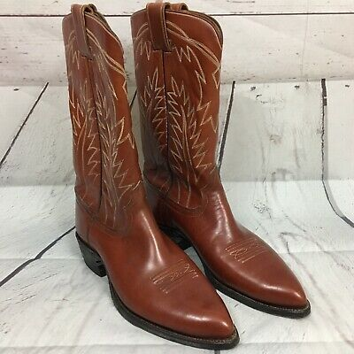 91002f0a61b VINTAGE MEN'S HYER Cowboy Boots Sz 8.5 D Brown Snip Toe Leather Western  Boots