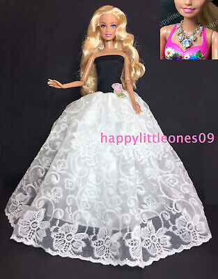 New Dress/Clothes/Gown & Handmade Necklace & Shoes 3 Piece Set for Barbie Doll