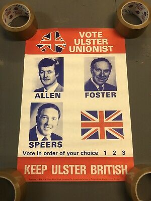 Vintage Armagh Allen, Foster, Speers Ulster Unionist Election Political Poster