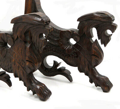 Antique pair Black Forest carved wood dragon gothic gargoyle Decorative Elements