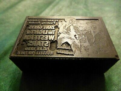Vintage Letterpress Printing Block Wood Metal Zane Grey Light Of Western Stars