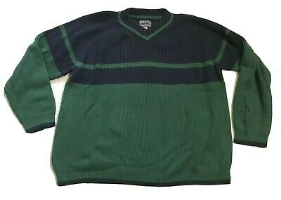 Vintage Nautica Marine Denim Co Mens Ribbed Knit Pullover Sweater XXL Embroidery