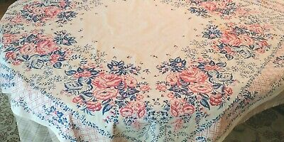 """Vintage Stamped Floral Navy and Pink Tablecloth 46"""" x 50"""""""