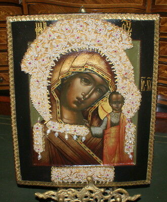 Antique Russian Icon Mother of God Kazanskay Embroidered Details, 19 c