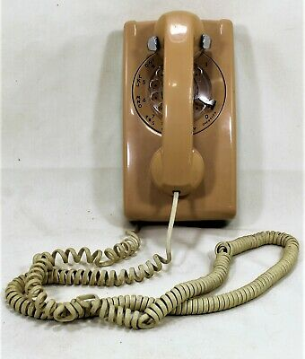 Vintage 1970's Rotary Dial Beige Wall Mounted Telephone Bell System Western Elec