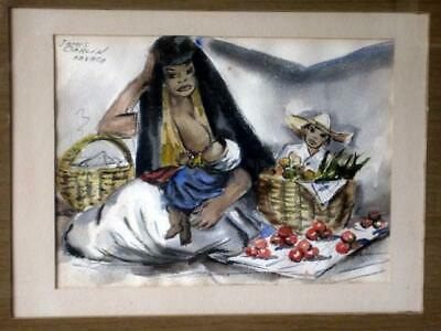 James Carlin 1906-2005 Listed New Jersey Artist Mexican Watercolor Oaxaca