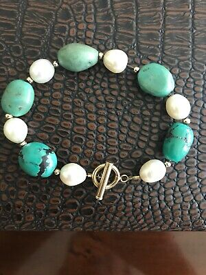 14k Yellow Gold Robins Egg Turquoise Nugget Pearl Bracelet TOGGLE CLASP