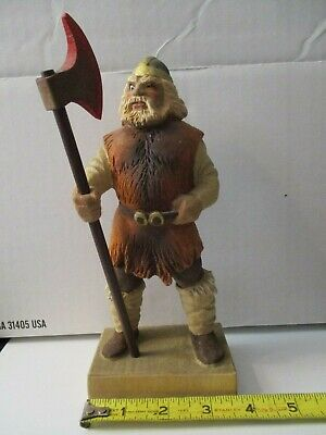 Vintage Henning Carved Wooden Viking Figure - Carved By Hand In Norway Rare