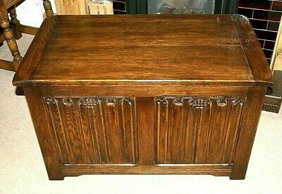 Attractive Vintage Oak Carved Fronted Coffer, Trunk, Blanket Box, Storage