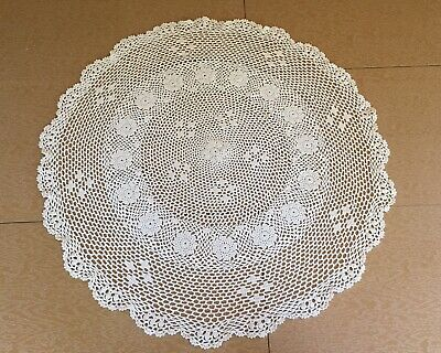 """28"""" Large Hand Crochet Round Doily, Off White, Ivory, Lace Tablecloth"""