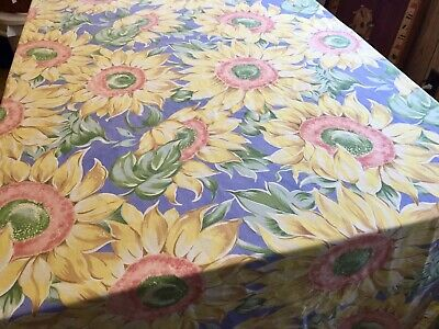"Vintage Sunflower Tablecloth, with French blue background, 58"" X 98""."