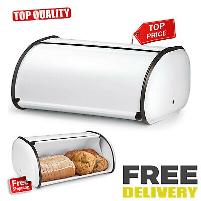 Large Steel Bread Box 2 Loaf Storage Metal Kitchen Food Container White