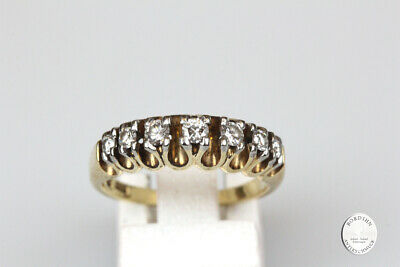 Ring 14 Carat Gold 7 Diamonds Gold Ring Band Ring Finger Ring Jewelry