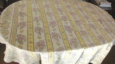 """Vintage Cotton Square/Rectangular Tablecloth 58 x 60"""" Pale Yellow Gray Floral"""