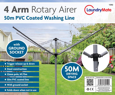 New Clothes Airer 4 Arm Rotary Garden Washing Line Dryer 50M Folding Outdoor