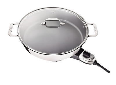 ALL-CLAD  7 QT  D5 Polished Stainless Electric Frypan Nonstick NEW