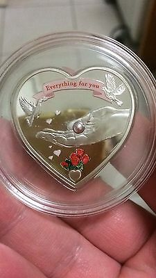 2008 palau everything for you love shape with pearl silver coin  ,no coa